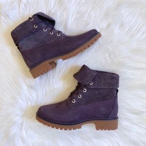 Timberland Jayne Dark Purple Suede Roll Top Boots